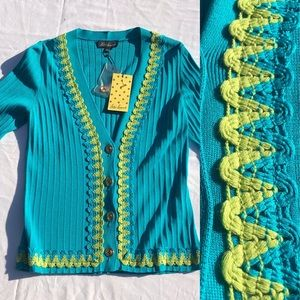 Sweaters - Mint Green Embroidered Cardigan